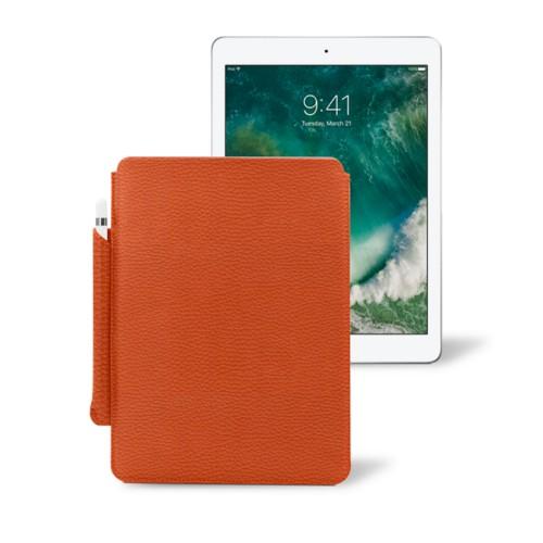 10,5 Zoll iPad Pro-Hülle mit Apple Pencil-Halter - Orange - Genarbtes Leder