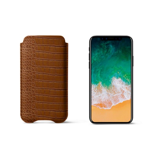 Protection Case for iPhone X - Camel - Crocodile style calfskin
