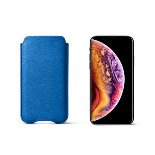 Funda protectora para iPhone XS - Cielo Azul  - Piel de Cabra