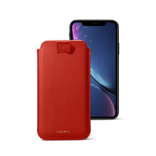 iPhone XR ケース(プルアップタグ付き) - Red - Goat Leather