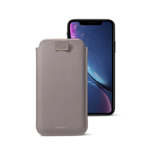 Funda con lengüeta pull-up para iPhone XR - Taupe Luz - Piel Liso