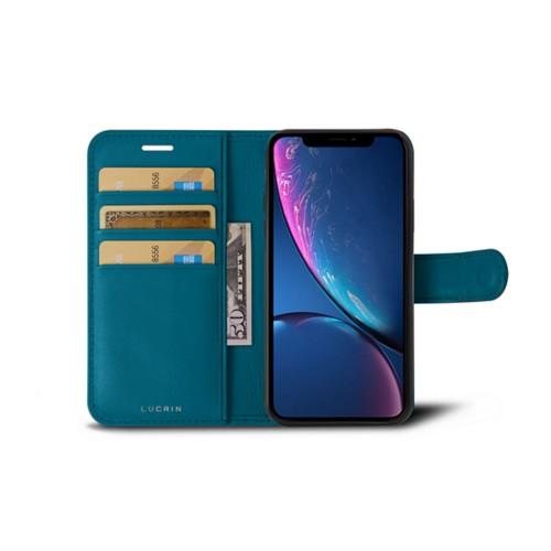 iPhone XR Wallet Case - Turquoise - Smooth Leather
