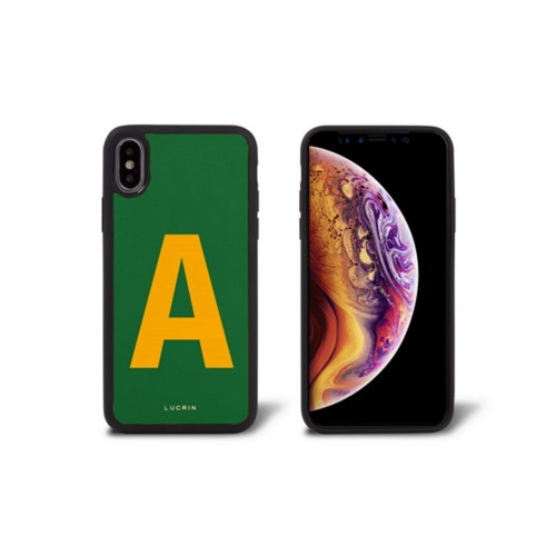 Custom iPhone Xs case - Light Green-Mustard Yellow - Smooth Leather