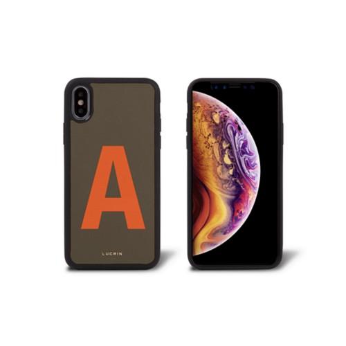 カスタムiPhone XS Max ケース - Dark Taupe/Orange - Smooth Leather