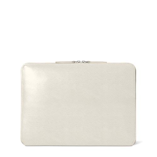 Pochette Zippée MacBook Air 2018 - Blanc Cassé - Cuir Grainé