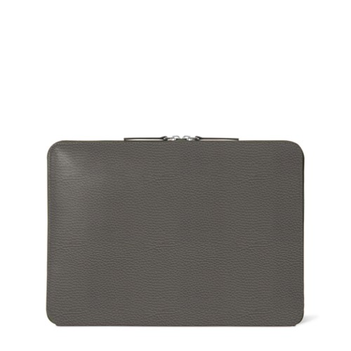 Zipped Case MacBook Air 2018 - Mouse-Grey - Granulated Leather