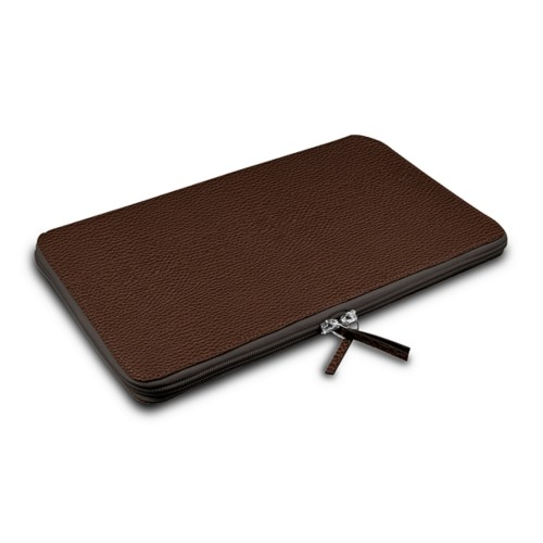 Zipped Case MacBook Air 2018 - Dark Brown - Granulated Leather