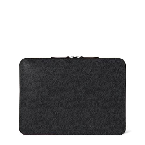 Custodia con zip per MacBook Air 2018 - Nero - Pelle Ruvida