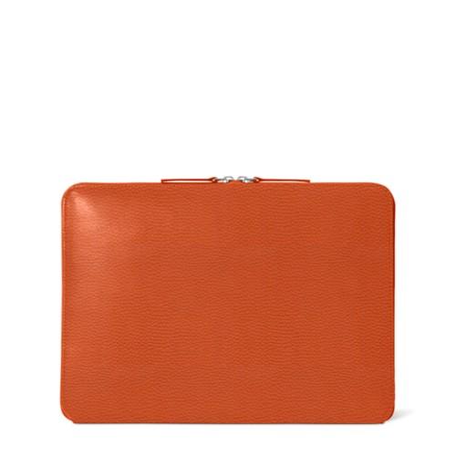 Funda con cremallera para MacBook Air 2018 - Naranja - Piel Grano