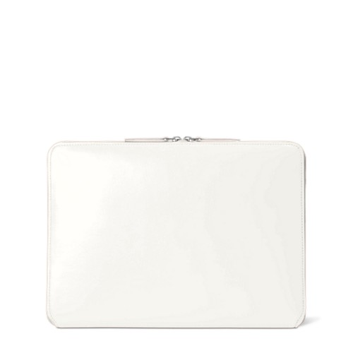 Pochette Zippée MacBook Air 2018 - Blanc - Cuir Lisse