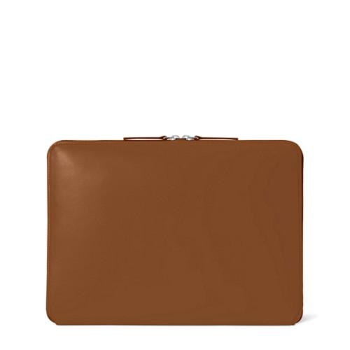 Funda con cremallera para MacBook Air 2018 - Coñac  - Piel Liso
