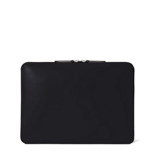 Custodia con zip per MacBook Air 2018 - Nero - Pelle Liscia