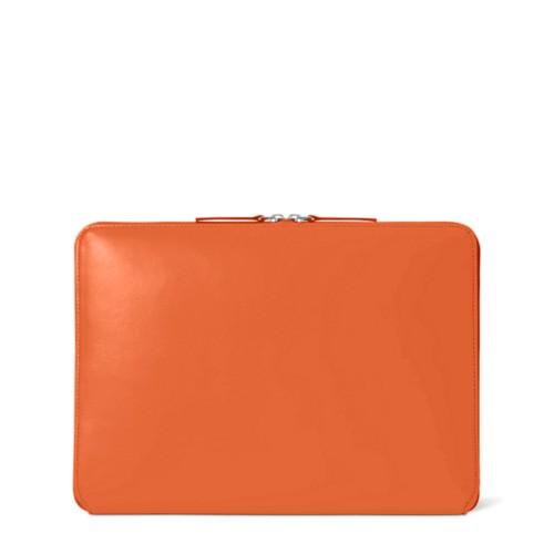 Funda con cremallera para MacBook Air 2018 - Naranja - Piel Liso