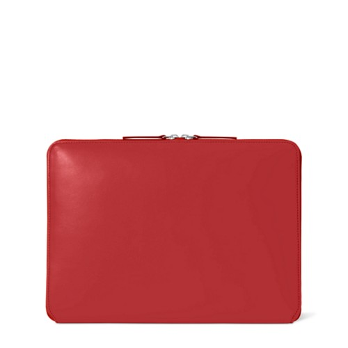 Zipped Case MacBook Air 2018 - Red - Smooth Leather