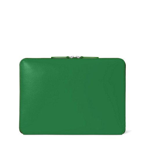 Zipped Case MacBook Air 2018 - Light Green - Smooth Leather
