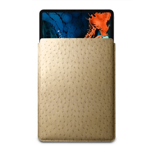 "Sleeve Case for iPad Pro 12.9"" 2018 - Beige - Real Ostrich Leather"