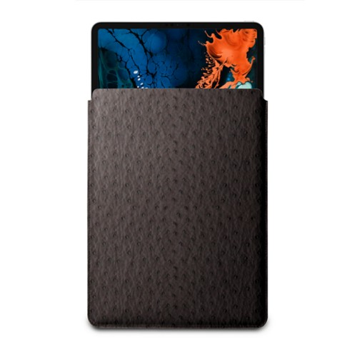 """Sleeve Case for iPad Pro 12.9"""" 2018 - Dark Brown - Real Ostrich Leather"""