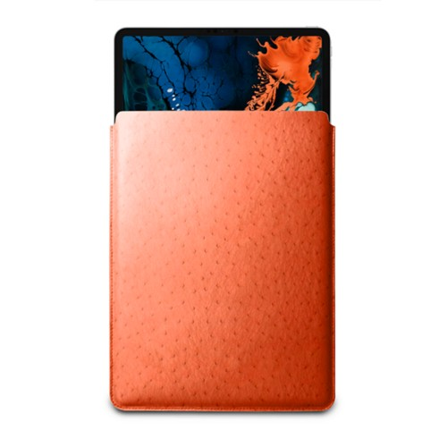 """Sleeve Case for iPad Pro 12.9"""" 2018 - Orange - Real Ostrich Leather"""