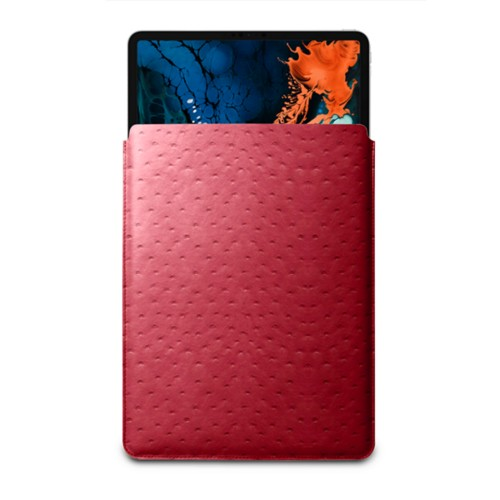 """Sleeve Case for iPad Pro 12.9"""" 2018 - Red - Real Ostrich Leather"""