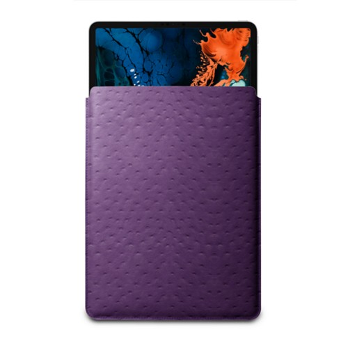 "Sleeve Case for iPad Pro 12.9"" 2018 - Purple - Real Ostrich Leather"