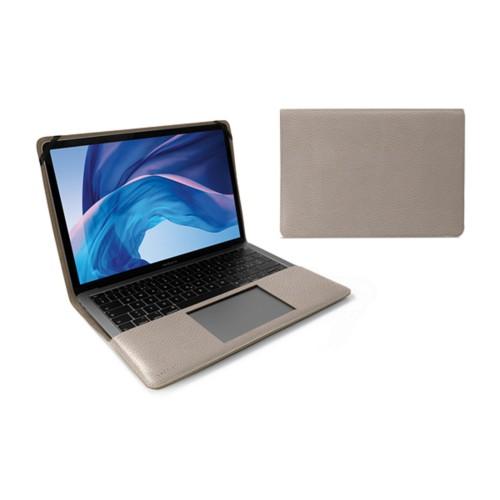 Écrin MacBook Air 13 pouces - Taupe Clair - Cuir Grainé