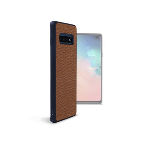 Backcover Samsung Galaxy S10 Plus - Cognac - Genarbtes Leder
