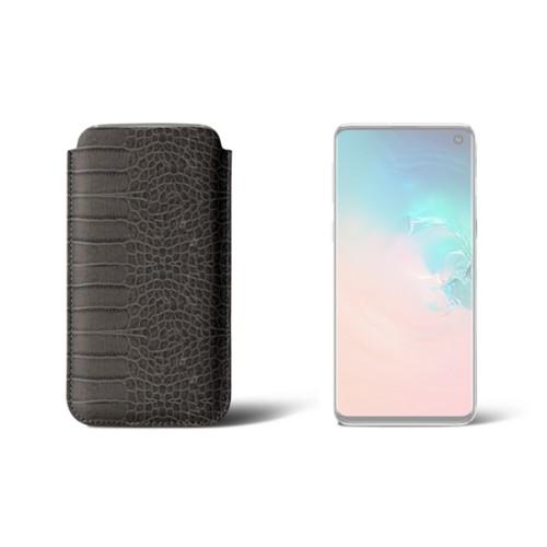 Hülle für Samsung Galaxy S10 - Mausgrau - Leder in Krokodil- Optik