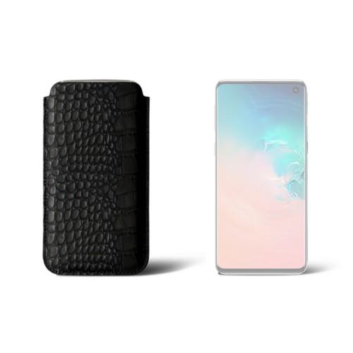 Hülle für Samsung Galaxy S10 - Schwarz - Leder in Krokodil- Optik
