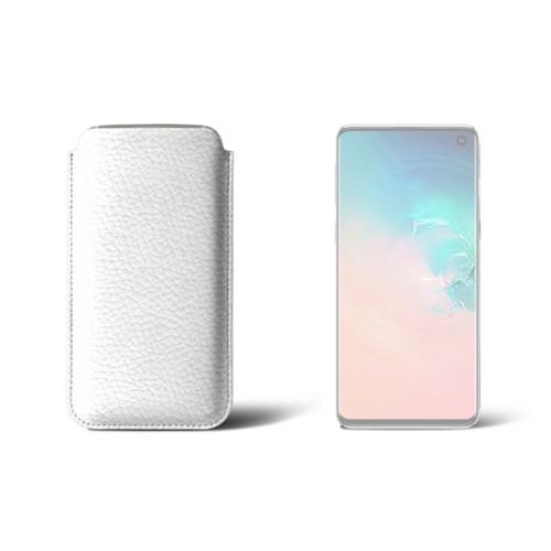 Hülle für Samsung Galaxy S10 - Weiß - Genarbtes Leder