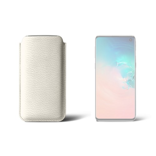 Samsung Galaxy S10用クラシックケース - Off-White - Granulated Leather