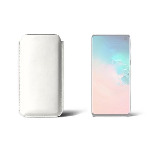 Hülle für Samsung Galaxy S10 - Weiß - Glattleder