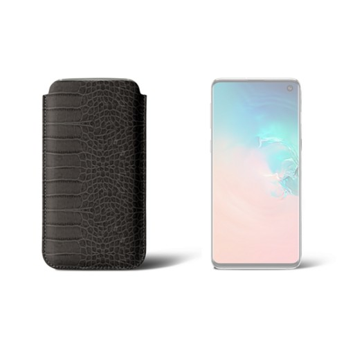 Classic Case for Samsung Galaxy S10 - Mouse-Grey - Crocodile style calfskin