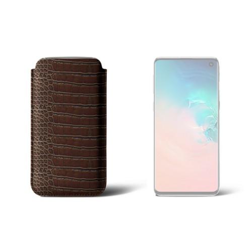 Samsung Galaxy S10用クラシックケース - Dark Brown - Crocodile style calfskin
