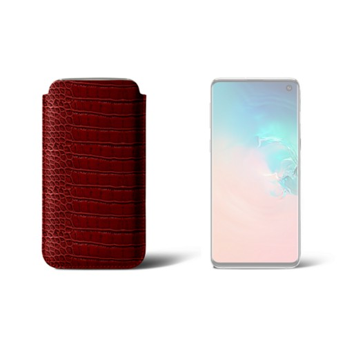 Étui Samsung Galaxy S10 Classique - Rouge - Veau Façon Crocodile