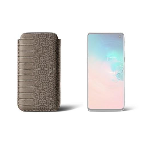 Étui Samsung Galaxy S10 Classique - Taupe Clair - Veau Façon Crocodile