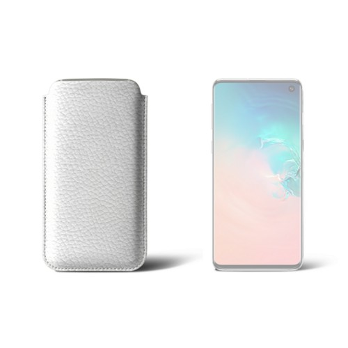 Classic Case for Samsung Galaxy S10 - White - Granulated Leather