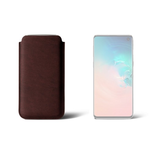 Samsung Galaxy S10用クラシックケース - Dark Brown - Vegetable Tanned Leather
