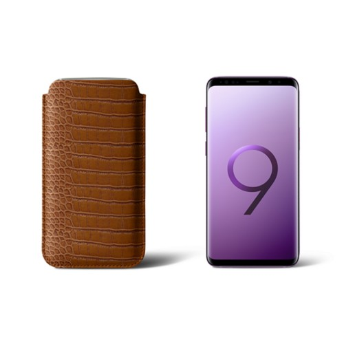 Sleeve for Samsung Galaxy S9 - Camel - Crocodile style calfskin