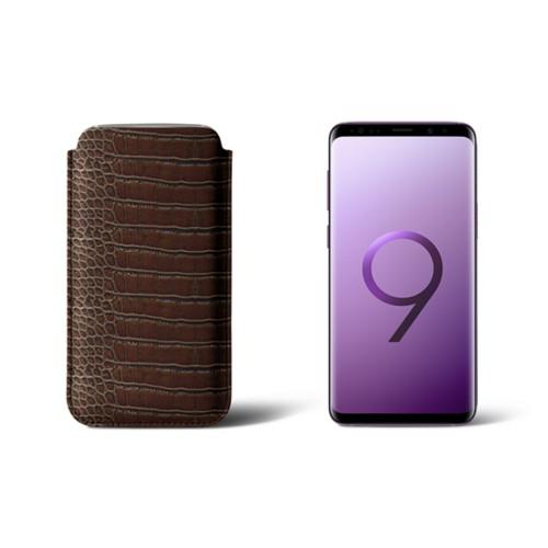 Housse pour Samsung Galaxy S9 - Marron Foncé - Veau Façon Crocodile