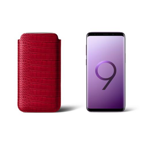 Housse pour Samsung Galaxy S9 - Rouge - Veau Façon Crocodile