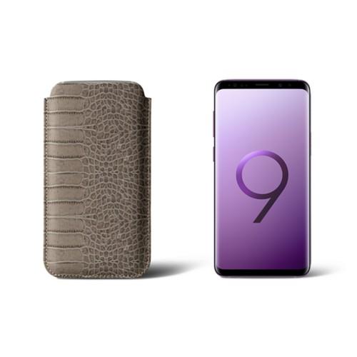 Housse pour Samsung Galaxy S9 - Taupe Clair - Veau Façon Crocodile