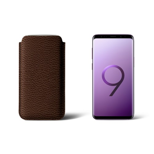 Sleeve for Samsung Galaxy S9 - Dark Brown - Granulated Leather