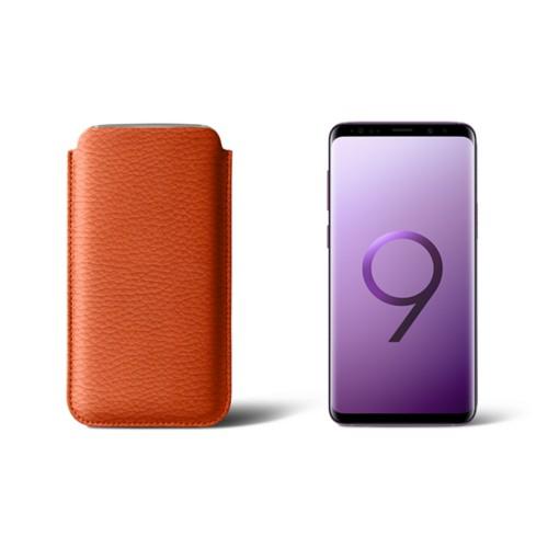 Housse pour Samsung Galaxy S9 - Orange - Cuir Grainé