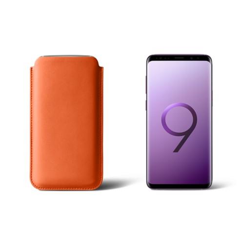 Housse pour Samsung Galaxy S9 - Orange - Cuir Lisse
