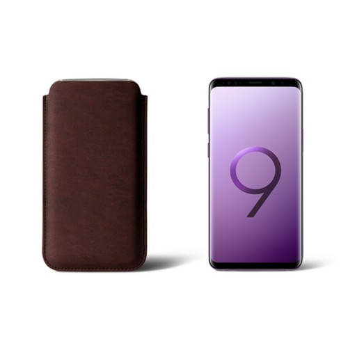 Sleeve for Samsung Galaxy S9 - Dark Brown - Vegetable Tanned Leather