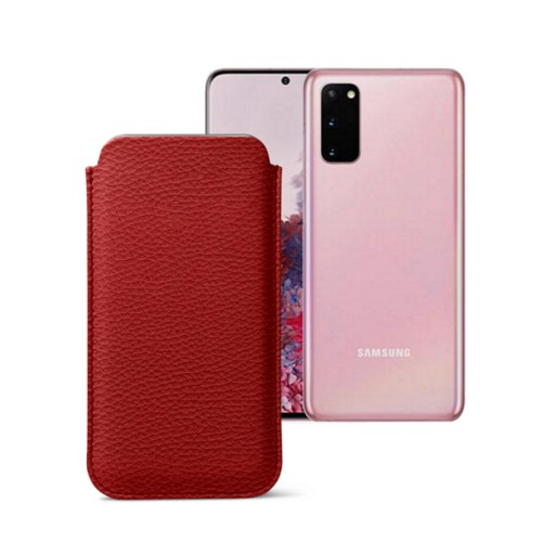 Classic Case for Samsung Galaxy S20 - Red - Granulated Leather