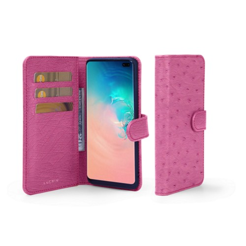 Samsung Galaxy S10 Plus Wallet Case - Fuchsia  - Real Ostrich Leather