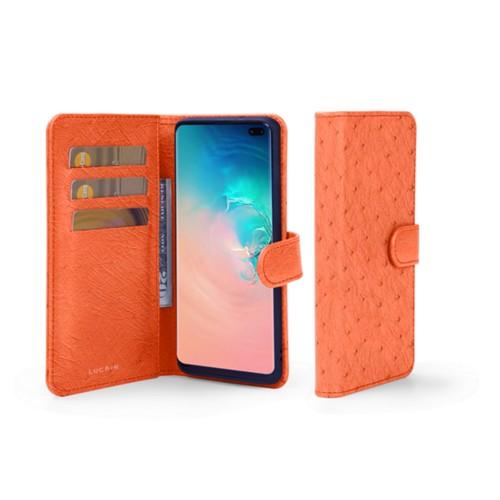 Étui Portefeuille Samsung Galaxy S10 Plus - Orange - Autruche Véritable