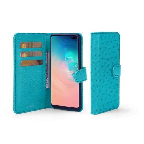 Portemonneehoesje voor de Samsung Galaxy S10 Plus - Turquoise - Echt Struisvogelleer