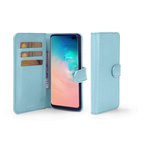Samsung Galaxy S10 Plus Wallet Case - Sky Blue - Goat Leather